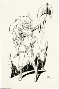 Pablo Marcos - Red Sonja Pin-Up Original Art (undated). Red Sonja, R. E. Howard's red-headed warrior woman, stands trium...