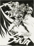 Original Comic Art:Splash Pages, Rudy Nebres - Red Sonja Pin-Up Original Art (1977). Red Sonja cutsa fine figure, as always, in this sensational Rudy Nebres...