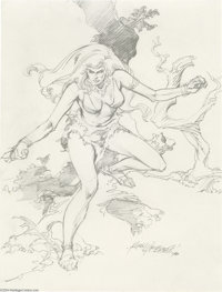 Rudy Nebres - Cavewoman Pin-Up Original Art (1977). Rudy Nebres has detailed a pulchritudinous cavewoman, perhaps a memb...