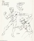 Original Comic Art:Sketches, Joe Staton - E-Man Family Sketch Original Art (undated). That whimsical, sentient energy mass, E-Man, takes center stage in ...