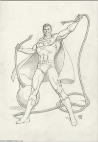 Curt Swan - Superman Pin-Up Original Art (1993). Superman to the rescue, as the Man from Krypton snaps a wrecking ball l...