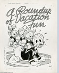 Original Comic Art:Covers, Frank McSavage (attributed) - Walt Disney's Vacation Parade #3Inside Front Cover Original Art (Dell, 1952). Animator and il...