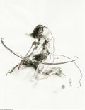 Original Comic Art:Sketches, George Pratt - Indian with Bow Drawing Original Art (undated). A bowman is poised to unleash a deadly arrow. The image area ...