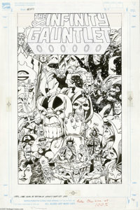 Jim Starlin - The Infinity Gauntlet Trade Paperback Cover Original Art (Marvel, 1991). Thanos, the Mad Titan, uses the I...