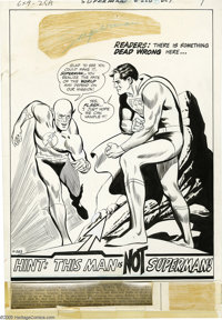 Curt Swan and George Roussos - Superman #220, page 1 Original Art (DC, 1969). The Superman-Flash crossovers were always...