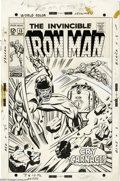 Original Comic Art:Covers, George Tuska - Iron Man #13 Cover Original Art (Marvel, 1969). TheController pounds the tracks of an approaching Boston-Mai...