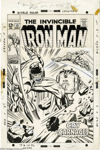 George Tuska - Iron Man #13 Cover Original Art (Marvel, 1969). The Controller pounds the tracks of an approaching Boston...
