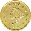 Territorial Gold, 1855 $50 Wass, Molitor Fifty Dollar MS60 NGC....