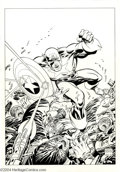 Original Comic Art:Splash Pages, Mike Zeck and John Beatty - Captain America Pin-Up Original Art(2000). It's clobberin' time, as Captain America takes out a...