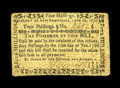 Colonial Notes:New Hampshire, New Hampshire June 28, 1776 4s Very Fine....