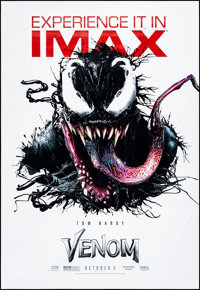 """Venom (Columbia, 2018) Rolled, Very Fine-. IMAX Bus Shelter (48"""" X 70"""") DS Advance. Action"""