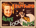 "Movie Posters:Drama, Dance Fools Dance (MGM, 1931) Very Fine-. Title Lobby Card (11"" X14""). Drama...."