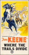 "Movie Posters:Western, Where the Trails Divide (Monogram, 1937) Very Fine- on Linen. Three Sheet (47"" X 80.5""). Western...."