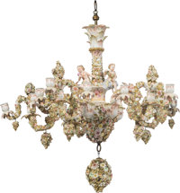A Fifteen-Candle Meissen-Style Porcelain Chandelier, 18th century Marks: 83., J. 29 x 32 x 32 inches