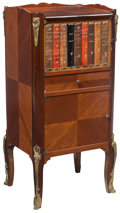 """Furniture , A Diminutive Gilt Metal-Mounted Cabinet with Trompe L'oeil """"Bookshelf"""" Door, 20th century . 30-1/2 x 14-1/2 x 12-1/8 inches ..."""
