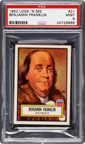 Non-Sport Cards:General, 1952 Topps Look 'N See Benjamin Franklin #21 PSA Mint 9 - Pop Five, Only One Higher. ...