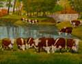 Paintings, Dave Risk (American, 1865-1933). Herfeord Cattle, calendar illustration, 1924. Oil on board. 19 x 24 inches (48.3 x 61.0...