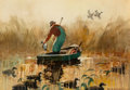 Works on Paper, Roy Martell Mason (American, 1886-1972). Duck Hunting. Watercolor on paper. 21 x 30 inches (53.3 x 76.2 cm). Signed lowe...