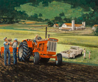 James Deneen (American, 1930-2012) On the Farm, Chalmers Tractor advertisement Gouache on board 1