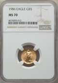 Modern Bullion Coins, 1986 $5 Tenth-Ounce Gold Eagle MS70 NGC. NGC Census: (1101). PCGS Population: (71). CDN: $700 Whsle. Bid for problem-free N...