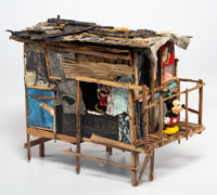 Jeff Gillette (b. 1959) Mickey and Minnie Mouse Shack Sculpture, c. 2010 Wood scraps, paper, and res