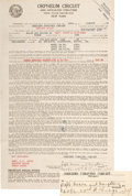 Autographs:Letters, 1918 Cap Anson Signed Theater Contract....
