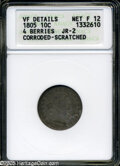 Early Dimes: , 1805 10C 4 Berries Fine12--Corroded, Scratched--ANACS, VF DetailsJR-2....