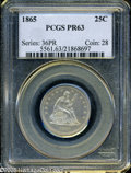 "Proof Seated Quarters: , 1865 25C PR 63 PCGS. The current Coin Dealer Newsletter (Greysheet)wholesale ""bid"" price is $770.00...."