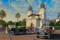 Stan Stokes (American, 20th Century) Pierce Arrow at the Hearst Castle, 2003 Oil on canvas 30 x 4