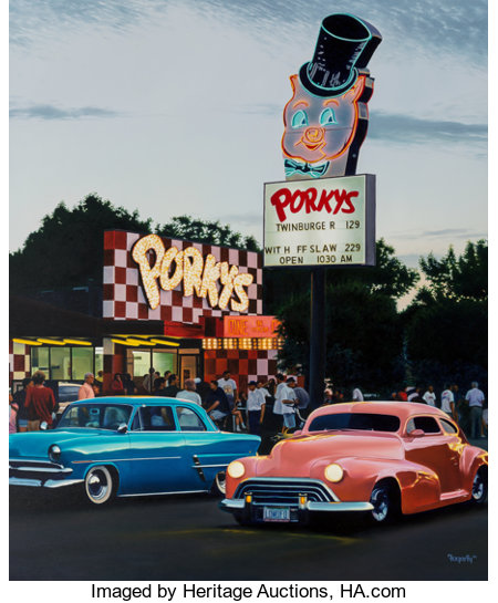 Terrence Fogarty (American, 20th Century) Porky's Drive In, 1996 Oil on canvas 48 x 40 inches (121.9 x 101.6 cm) Sig...