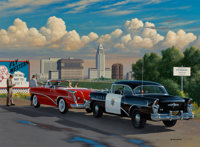 Stan Stokes (American, 20th Century) Welcome to L.A., 2002 Oil on canvas 30 x 45-1/2 inches (76.2