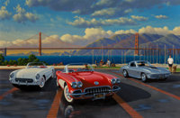 Stan Stokes (American, 20th Century) Golden Gate Corvettes, 2003 Oil on canvas 30 x 45 inches (76