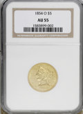 Liberty Half Eagles, 1854-O $5 AU55 NGC....