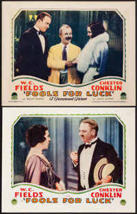 "Fools for Luck (Paramount, 1928) Overall: Very Good/Fine. Lobby Cards (2) (11"" X 14""). Comedy. From the Collec..."