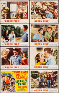 "Green Fire & Other Lot (MGM, 1954) Very Fine-. Lobby Card Set of 8 (11"" X 14"") & One Sheet (27"" X..."