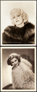 """Movie Posters:Photo, Jean Harlow Lot (1930s) Very Fine-. Autographed Portrait Photo & Photo (8"""" X 10""""). Miscellaneous.... (Total: 2 Items)"""