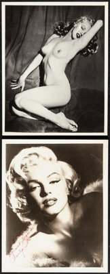 """Marilyn Monroe (1950s) Very Fine-. Signed Portrait Photo, Pin-Up Photo (8"""" X 10""""), & Sheet Music (4 Pa..."""