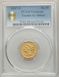 Liberty Quarter Eagles, 1847-C $2 1/2 -- Tooled -- PCGS Genuine Gold Shield. AU Details. NGC Census: (25/170 and 0/0+). PCGS Population: (36/119 an...