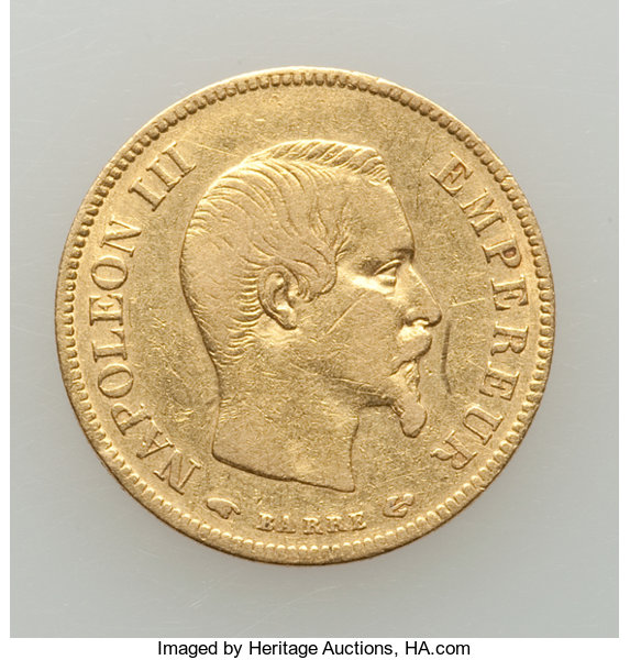 France: Napoleon III gold 10 Francs 1856-A VF (surface
