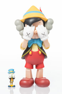 KAWS (b. 1974) Pinocchio & Jiminy Cricket, 2010 Painted cast vinyl 10-1/4 x 5 x 4-1/2 inches (26