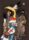 Prints & Multiples, Kevin Red Star (b. 1943). Crow Dancers at Midnight, c. 1980. Serigraph in colors on paper. 31 x 22 inches (78.7 x 55.9 c...