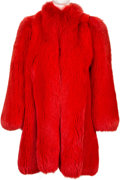 Music Memorabilia:Costumes, Connie Francis Red Fox Fur Coat, 1982....