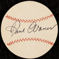 "Autographs:Index Cards, 1950s Paul ""Big Poison"" Waner Signed Baseball Cut. ..."