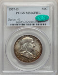 Franklin Half Dollars, 1957-D 50C MS66 Full Bell Lines PCGS. CAC. PCGS Population: (456/23). NGC Census: (177/8). MS66. ...