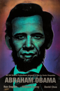 Ron English (b. 1959) Abraham Obama (Silver Lettering), 2009 Lenticular 3 color flip print 36 x 2
