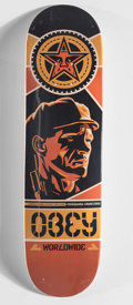 Collectible, Shepard Fairey (b. 1970). Logo Deck, circa 2008. Offset lithograph in colors on skate deck. 32 x 8 inches (81.3 x 20.3 c...