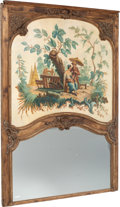 Furniture, A French Trumeau Mirror with Painted Panel with Chinoiserie Scene, circa 1890. Marks: 947 BLEU. 79-1/4 x 60-3/8 x 2-1/4 ...