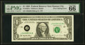 Error Notes:Inking Errors, Overinking of District Seal Error Fr. 1922-J $1 1995 Federal Reserve Note. PMG Gem Uncirculated 66.. ...