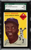 Baseball Cards:Singles (1950-1959), 1954 Topps Jackie Robinson #10 SGC 92 NM/MT+ 8.5 - Pop two, None Higher....