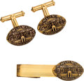 Football Collectibles:Others, 1967 Super Bowl I Packers vs. Chiefs Press Tie Clip & Cuff Links. ...